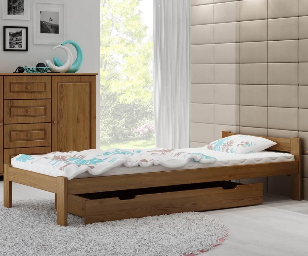 AMI nábytok Postel dub Isao VitBed 90x200cm + Matrace Heka 90x200