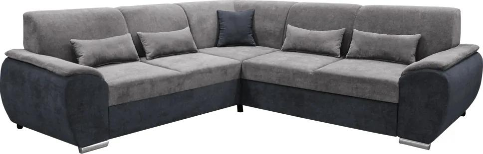 KONDELA Emily Roh P rohová sedačka s rozkladom a úložným priestorom tmavosivá (Soro 97) / sivá (Soro 90)