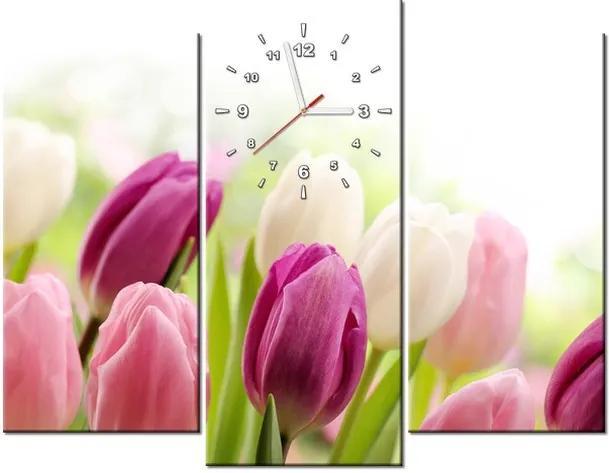 Tlačený obraz s hodinami Farebné jemné tulipány 90x70cm ZP2125A_3C