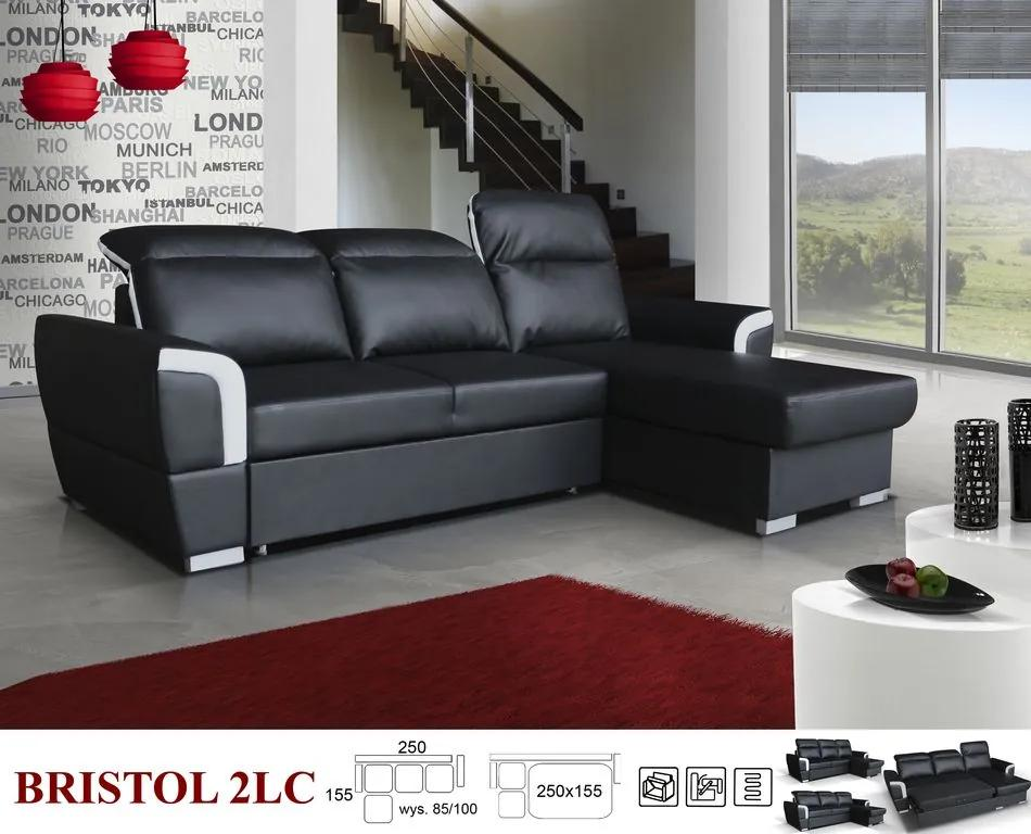 Elegantní sedací souprava Bristol Roh: Orientace rohu Levý roh, Potah DBK korpus: Potah na korpus Eko-kůže D-8 černá, Potah DBK: Potah Režná látka I