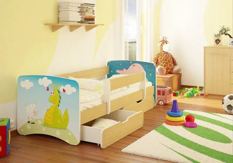 MAXMAX Detská posteľ DINO A OVEČKA funny 160x80 cm - sa zásuvkou 160x80 pre dievča ÁNO