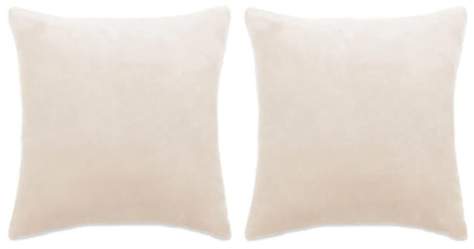 vidaXL Sada zamatových dekoratívnych vankúšov, 2 ks, 60x60cm, biela