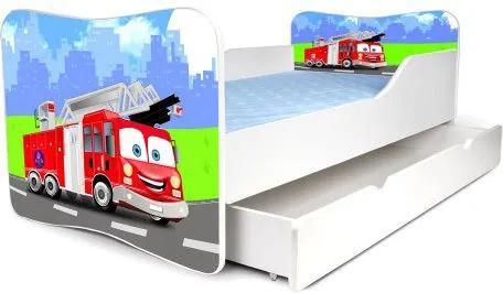 MAXMAX Detská posteľ so zásuvkou HASIČI + matrac ZADARMO 160x80 pre chlapca ÁNO