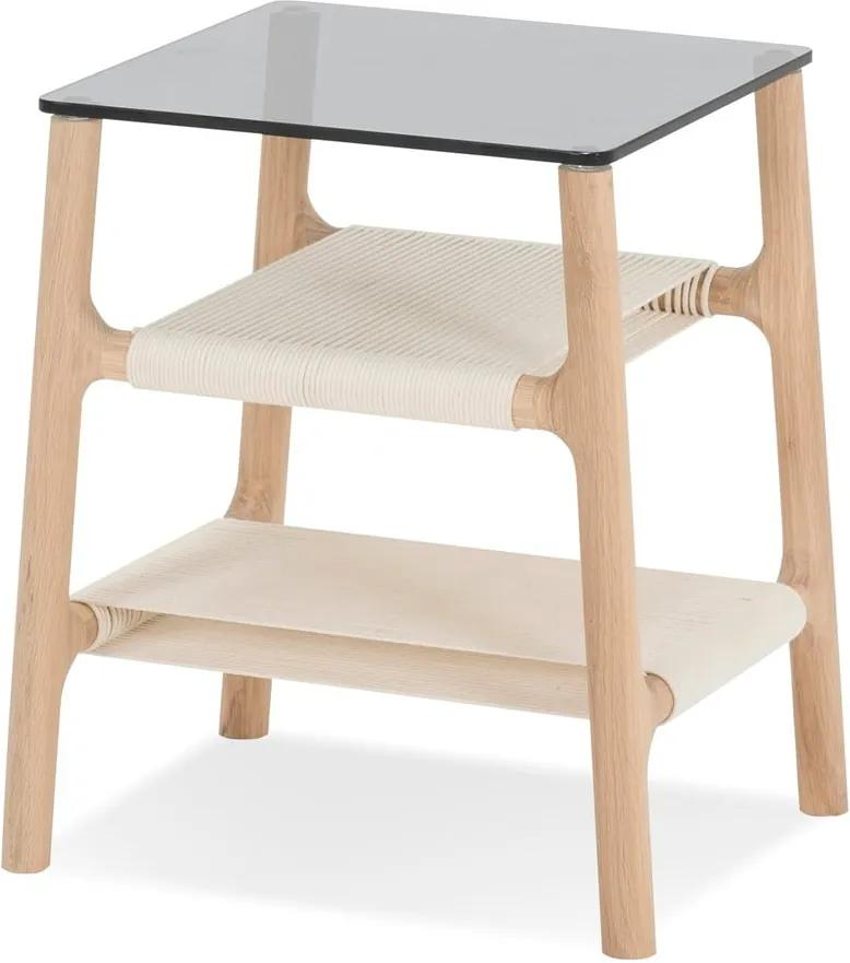 Odkladací stolík s konštrukciou z masívneho dubového dreva a sivou doskou Gazzda Fawn