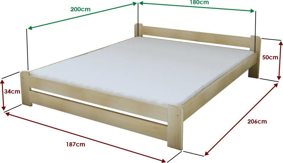 Maxi Drew Posteľ Emily 180 x 200 cm, borovica Rošt: s latkovým roštom, Matrac: s matracom Economy 10 cm