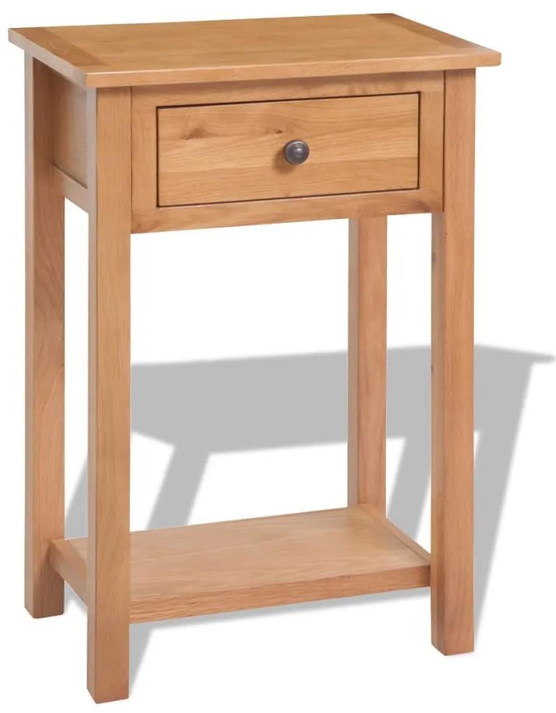 vidaXL Konzolový stolík 50x32x75 cm, dubový masív