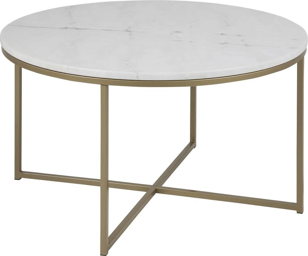 Konferenčný stolík Agostino, biela / svetlá mosadz