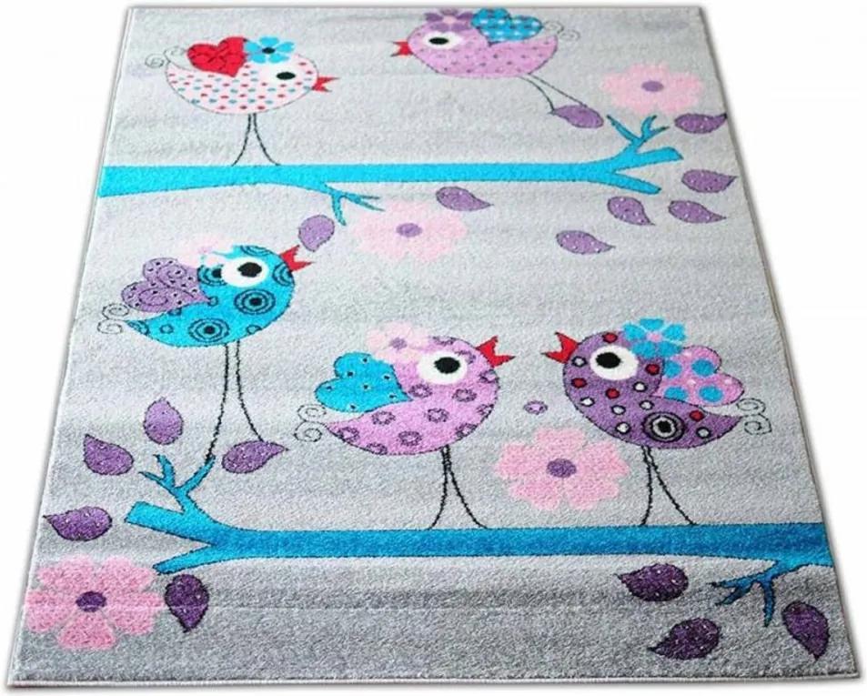 Detský koberec Vtáky šedý, Velikosti 120x170cm