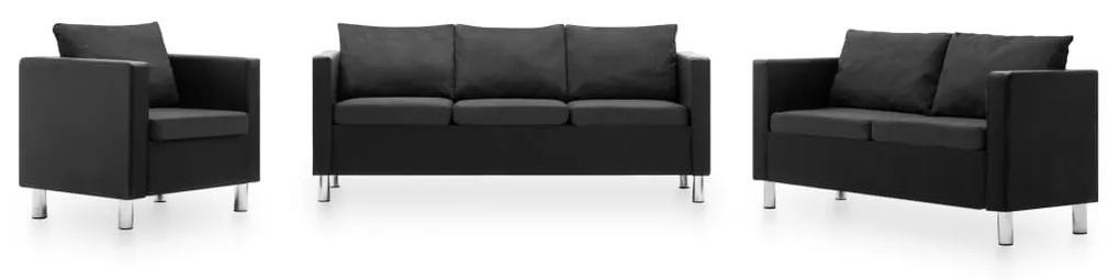 vidaXL 3-dielna sedacia súprava z umelej kože čierna a tmavosivá