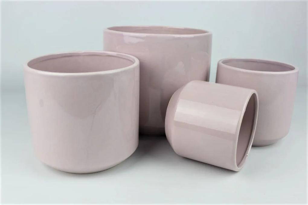Ružový keramický okrúhly kvetináč 18 cm