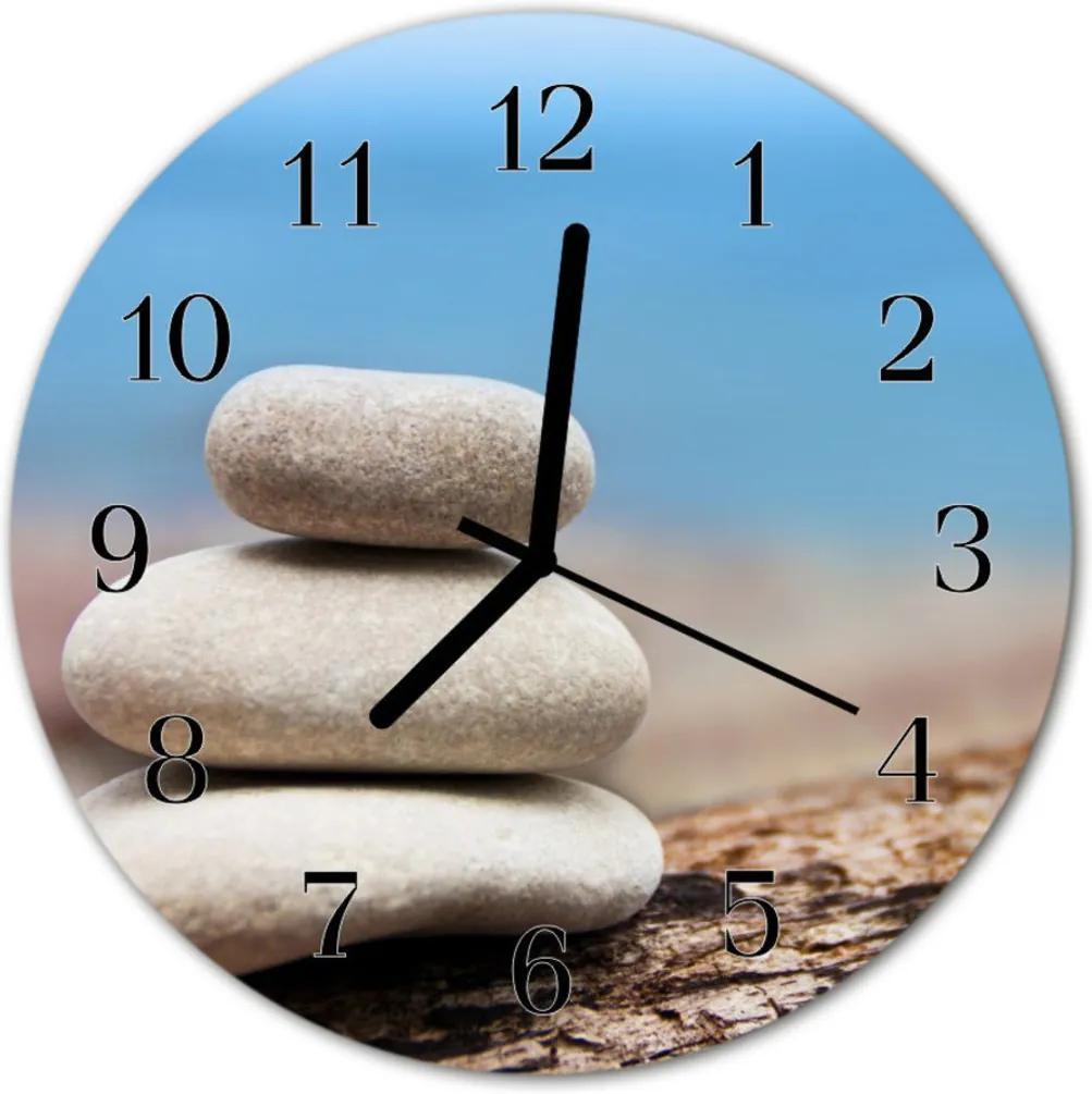 Nástenné skleněné hodiny kameny
