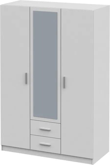 TEMPO KONDELA Invita Typ 2 3D šatníková skriňa so zrkadlom biela