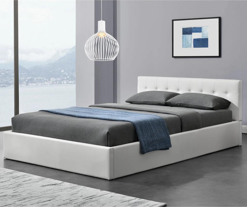 Čalúnená posteľ Marbella 140 x 200 cm, biela