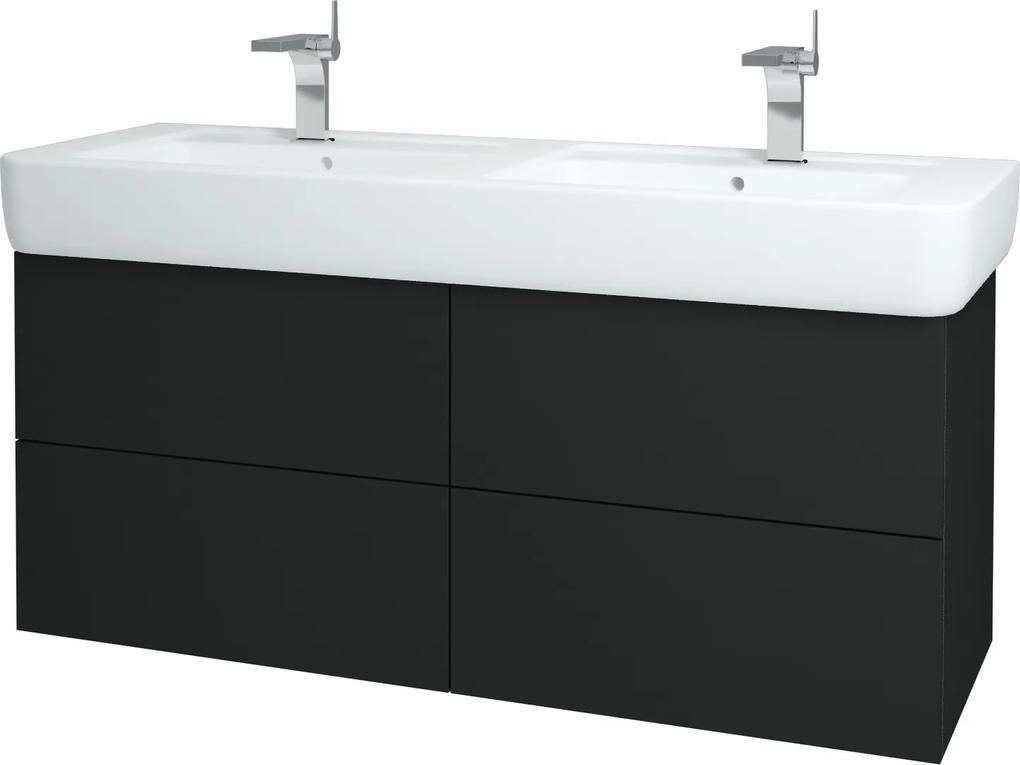 Dřevojas - Koupelnová skříň VARIANTE SZZ4 130 - L03 Antracit vysoký lesk / L03 Antracit vysoký lesk (162399)