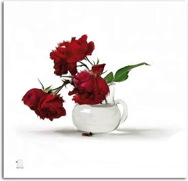 Obraz CARO - Red Roses In A Vase 20x20 cm
