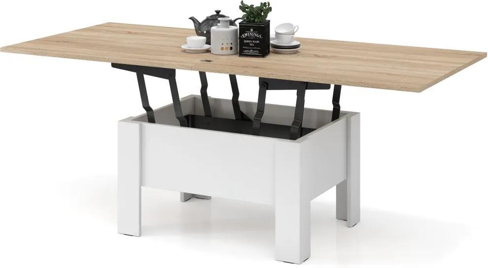 Mazzoni OSLO sonoma dub / biela, rozkladacia, zdvíhací konferenčný stôl, stolík