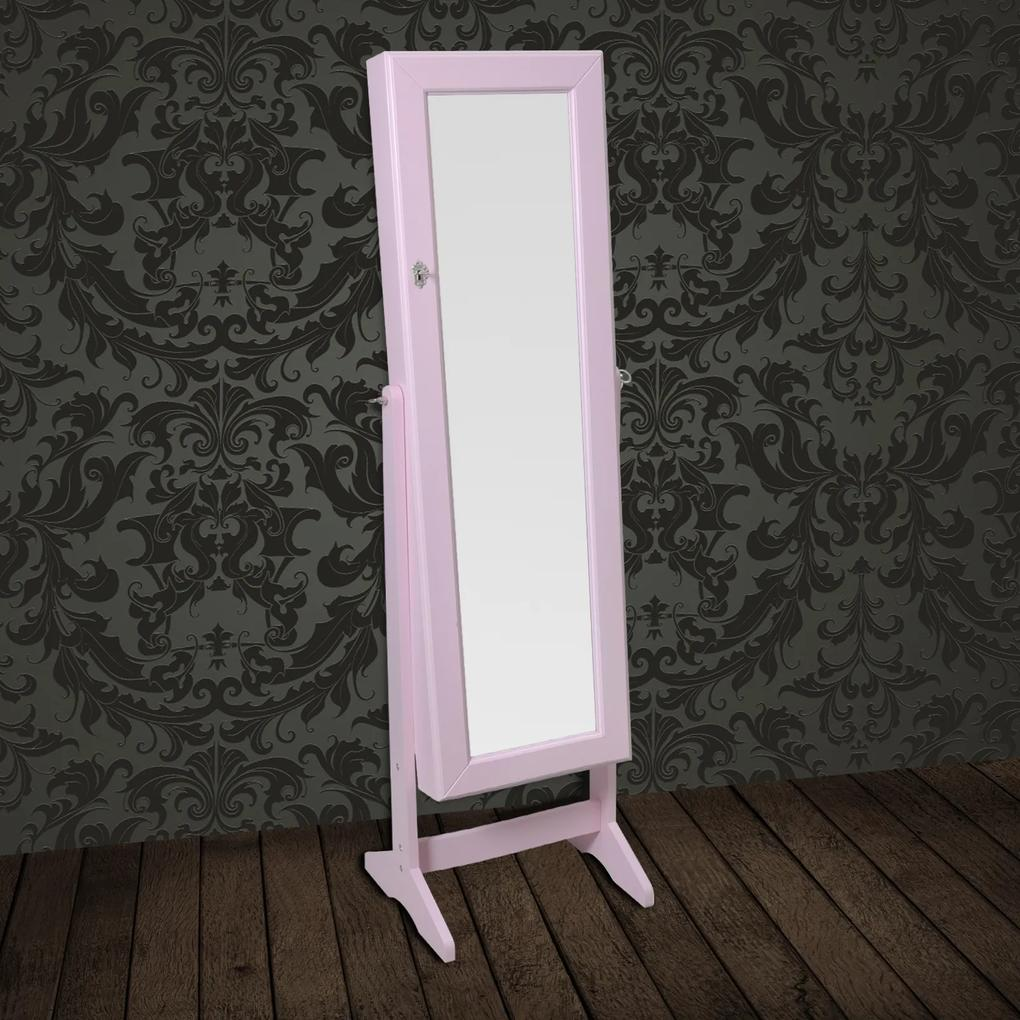 Zrkadlo sa šperkovou skriňou ružovej