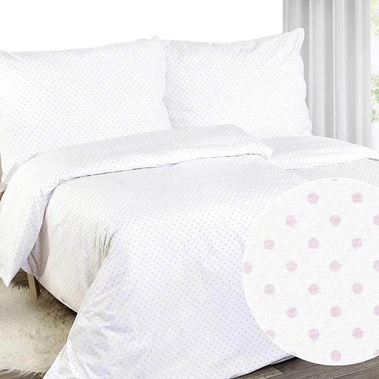 Goldea perkálové bavlnené obliečky - vzor 728 ružové bodky na bielom 140 x 200 a 70 x 90 cm
