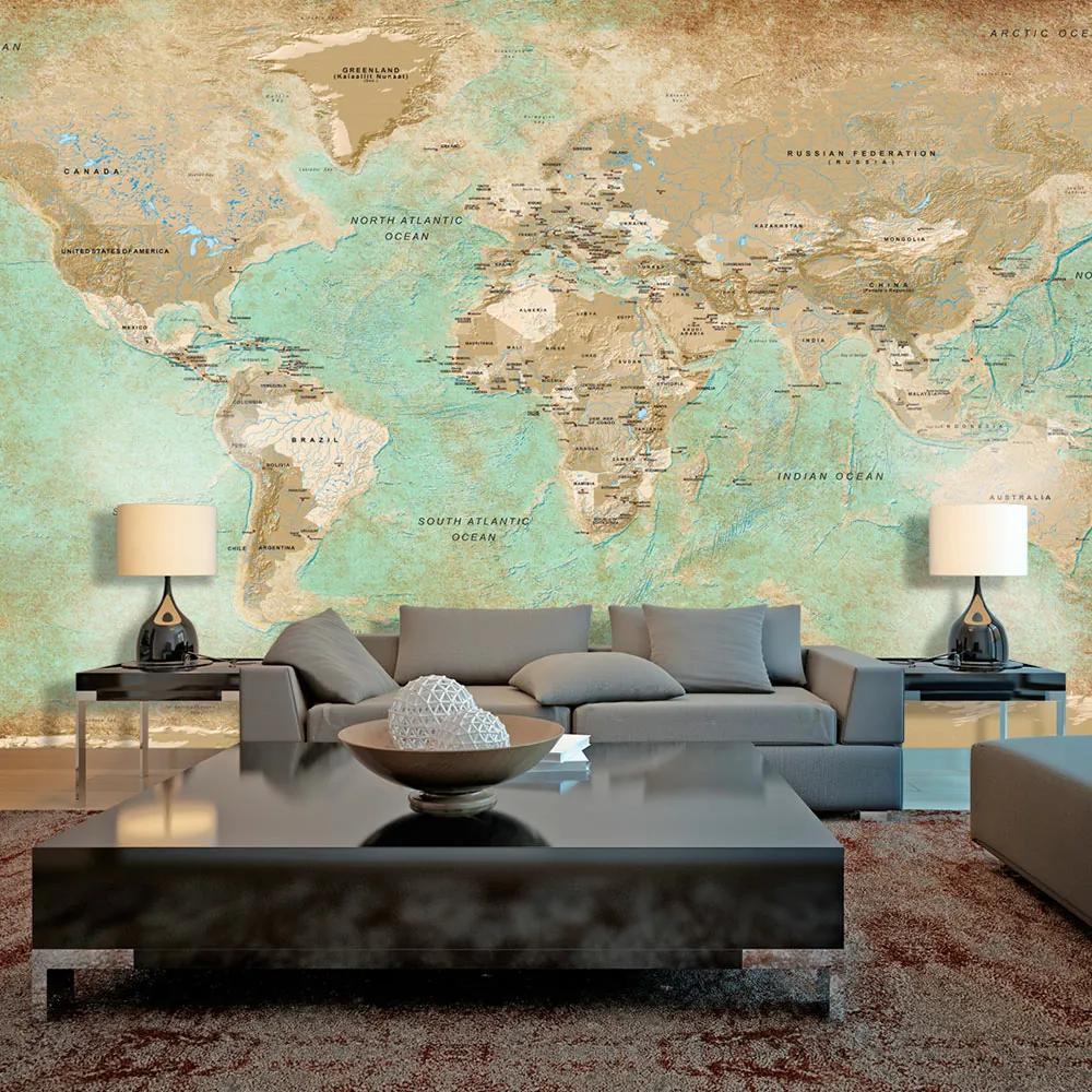 Fototapeta Xxl Mapa Sveta Geograficka 500x280 Biano