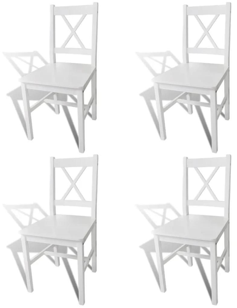 vidaXL Jedálenské stoličky 4 ks, biele, borovicové drevo