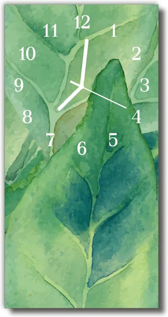 Skleněné hodiny vertikální Příroda Zelené listy