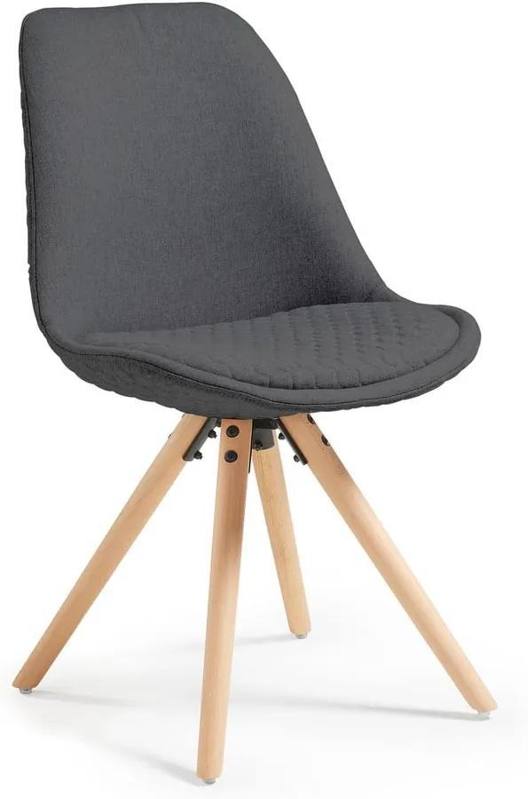 Tmavosivá jedálenská stolička s drevenou podnožou La Forma Lars