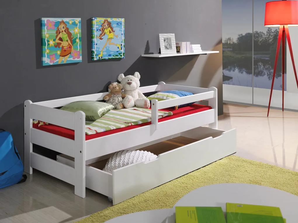 Posteľ so zábranou - biela 160x70 cm posteľ bez úložného priestoru