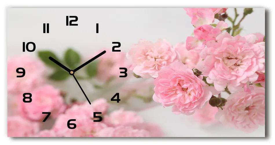 Moderné sklenené hodiny na stenu Divoké ruže pl_zsp_60x30_f_113333755