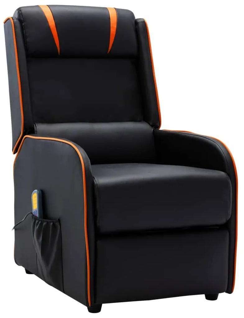 vidaXL Sklápacie masážne kreslo, čierno oranžové, umelá koža