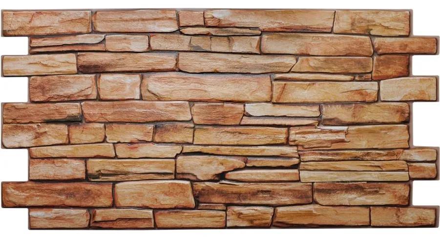 Obkladové 3D PVC panely TP10007705, rozmer 980 x 498 mm, kameň karneolový, GRACE