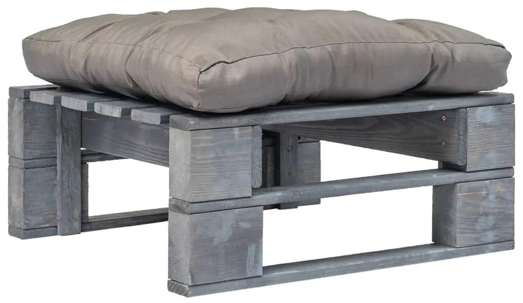 vidaXL Záhradná paletová tabureka so sivým vankúšom sivé drevo FSC
