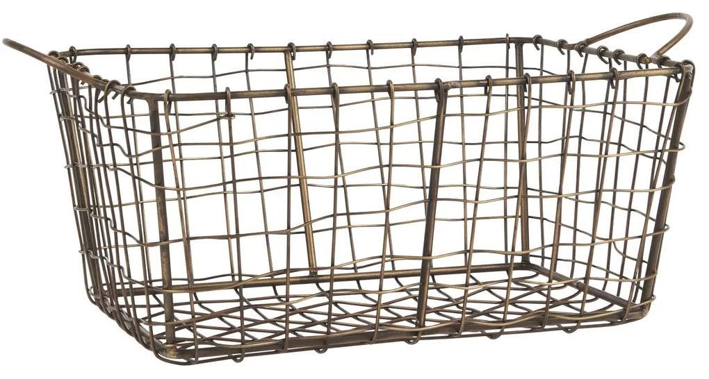 IB LAURSEN Kovový drôtený košík Brown Gold Wire