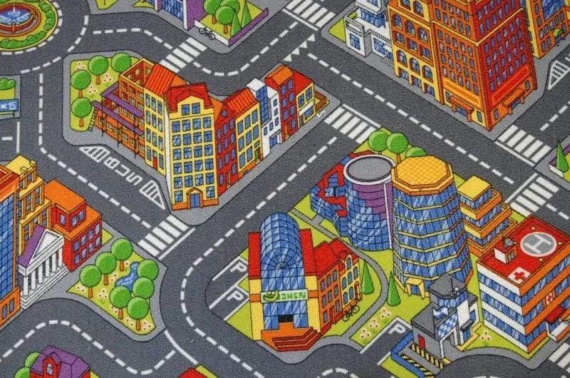 3kraft Dětský koberec BIG CITY šedý