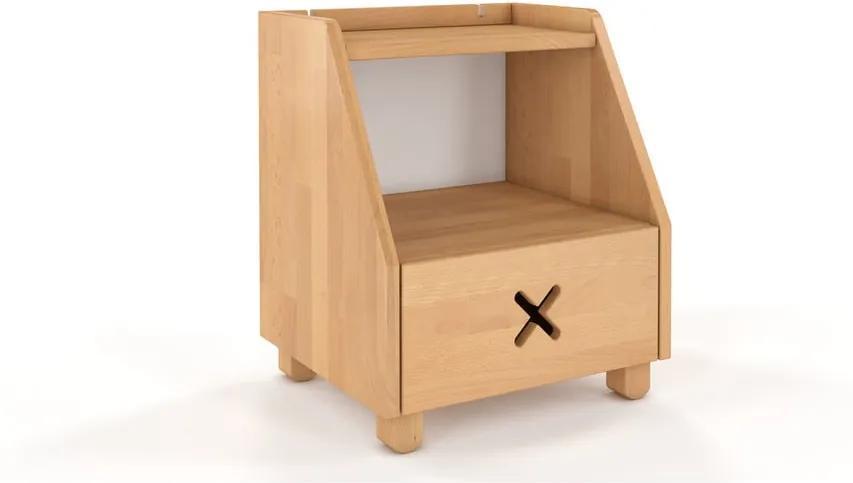 Nočný stolík z bukového dreva so zásuvkou a policou Skandica Visby Ustka