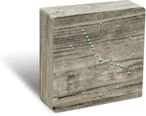 Hnedý budík so zeleným LED displejom Gingko Analogue Click Clock