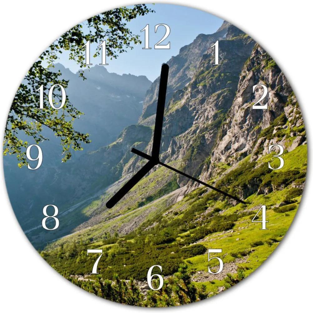 Nástenné skleněné hodiny hory