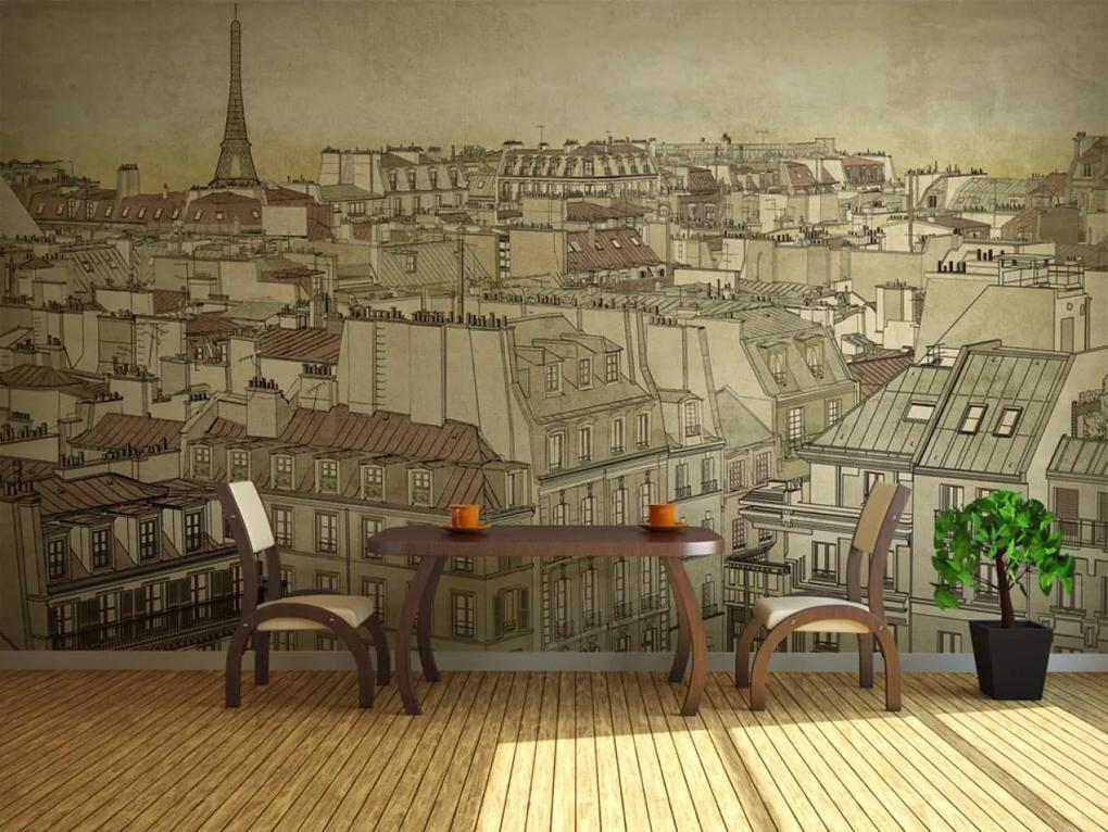 Murando Deluxe Pohled Na Pariz Kresba 150x116 Cm Biano