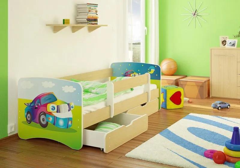 MAXMAX Detská posteľ AUTÍČKO funny 180x90 cm - sa zásuvkou 180x90 pre chlapca ÁNO