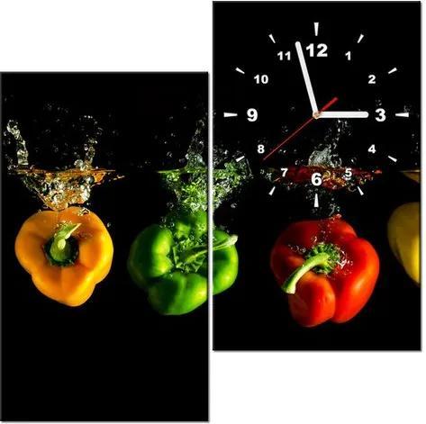 Tlačený obraz s hodinami Plávajúce papriky 60x60cm ZP2003A_2J