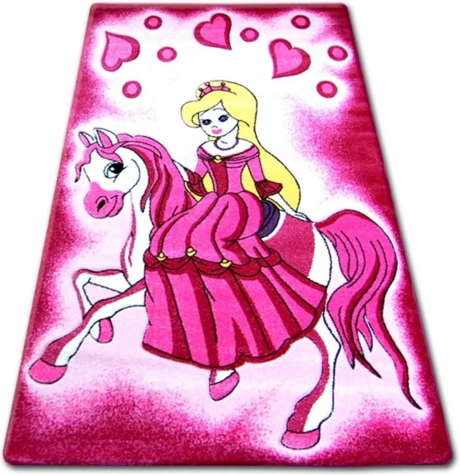 Detský kusový koberec Princezná na koni ružový, Velikosti 160x220cm