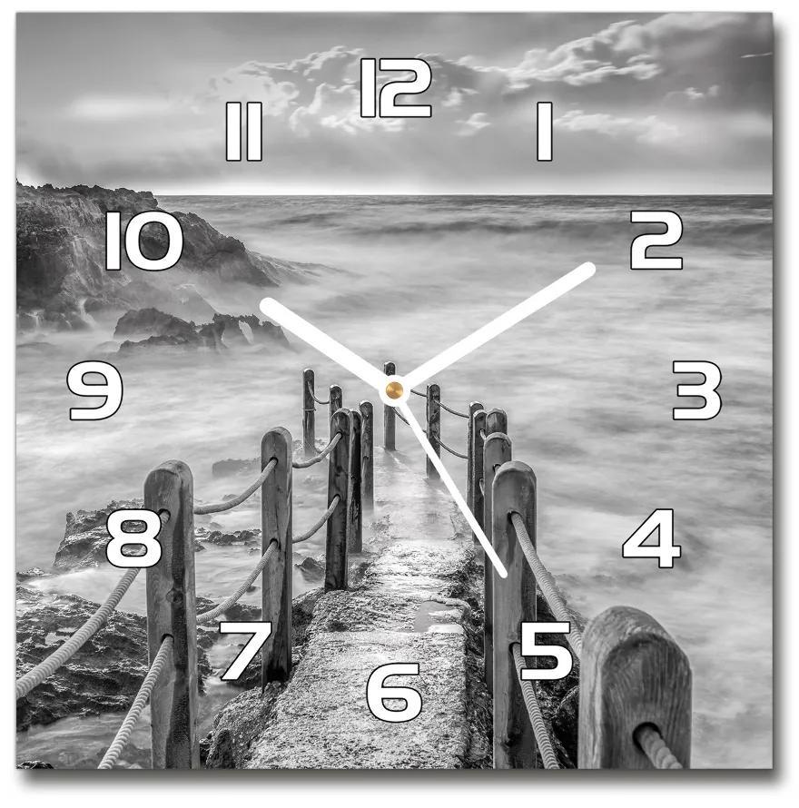 Sklenené hodiny štvorec Chodník nad morom pl_zsk_30x30_f_123720433