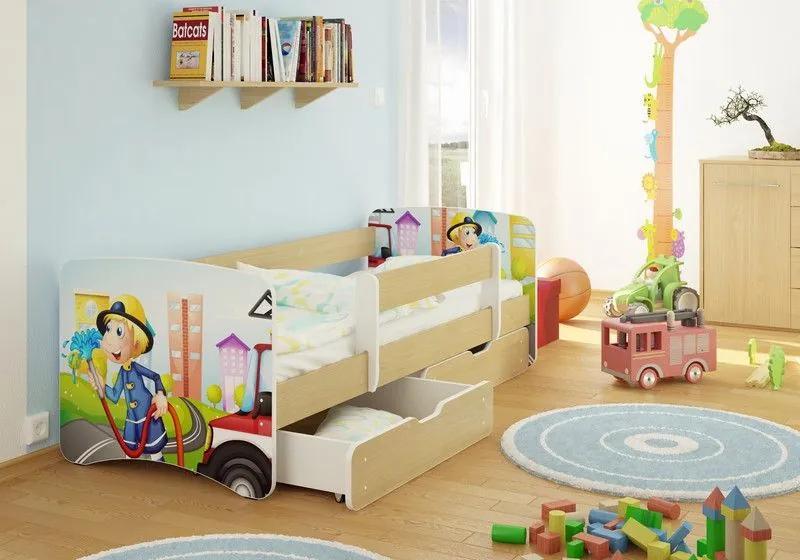 MAXMAX Detská posteľ Hasiči funny 160x80 cm - sa zásuvkou 160x80 pre chlapca ÁNO