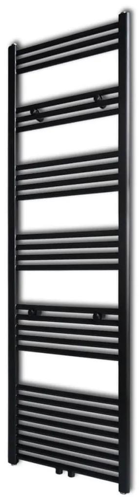 vidaXL Čierny rebríkový radiátor na centrálne vykurovanie, rovný 500 x 1732 mm