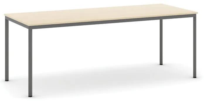 Stôl jedálenský, 2000 x 800 mm doska breza, podnož tm. sivá