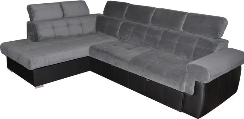 PYKA Atlanta L rohová sedačka s rozkladom a úložným priestorom sivá / čierna