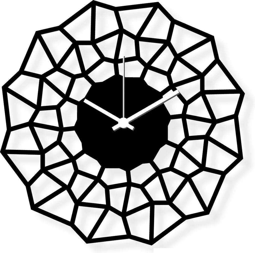 Dizajnové nástenné hodiny: Vločka - Čierne plexi 30x30 cm| atelierDSGN