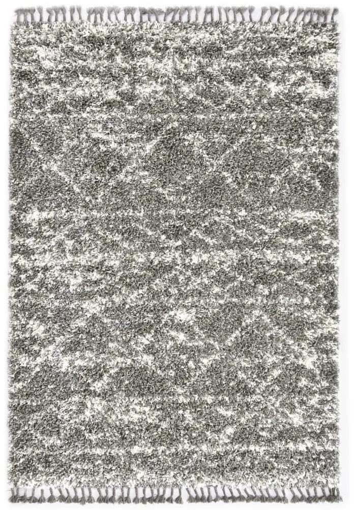 vidaXL Koberec Berber chlpatý sivý a béžový 160x230 cm PP