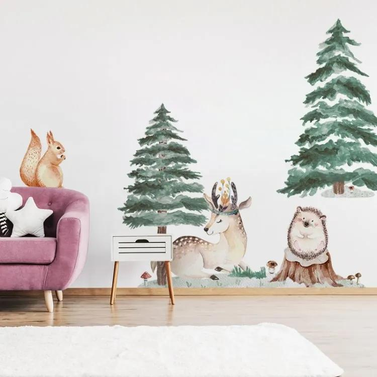 Nálepky na stenu Forest - jelenček a veverička
