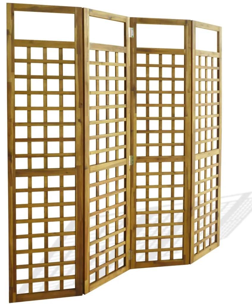 vidaXL 4-panelový paraván z masívneho akáciového dreva, 160x170 cm