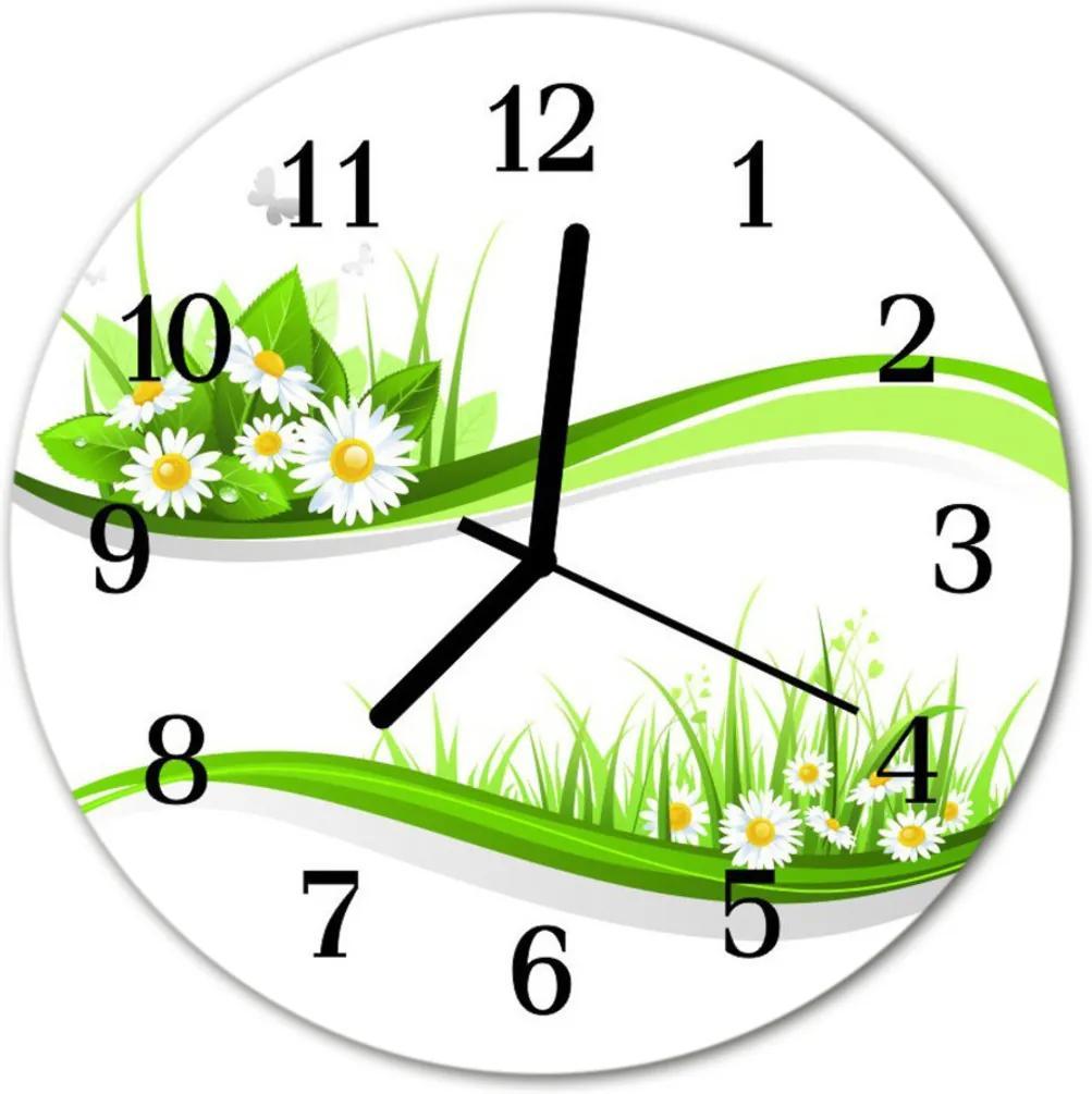 Skleněné hodiny kulaté sedmikráska